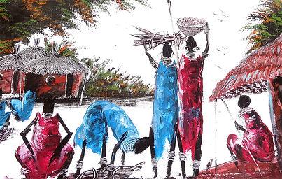 """painting """"tinga tinga"""": Masai village"""