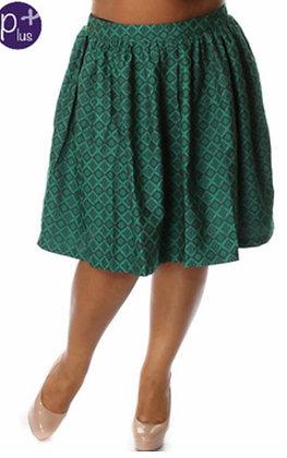 Diamond Print A-Line Skirt