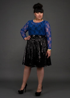 YK Sequin Razor Skirt