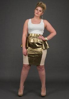 YK Metallic Peplum Skirt