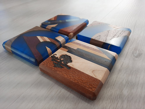 Blue Epoxy Coasters