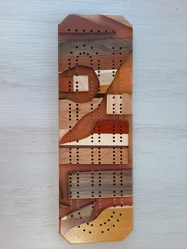Exotic wood and Epoxy Cribbage Board