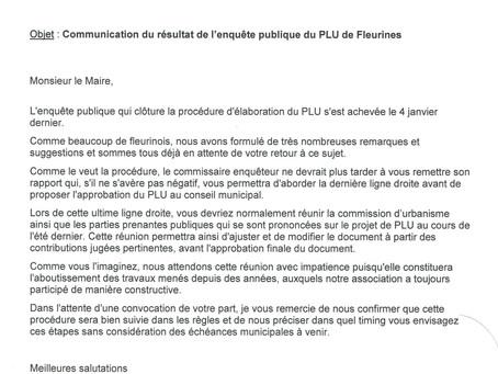 Notre lettre au Maire sur les résultats de l'enquête publique concernant le PLU de FLeurines