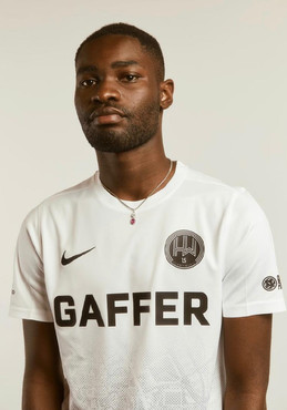 Actor and Rapper SantanDave in the new Hackney Wick FC kit 21/22 for the all star team at Old Trafford