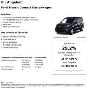Ford Transit Connecoost 74kW t Kastenwagen T200 kurz 1,0 EcoBBasis