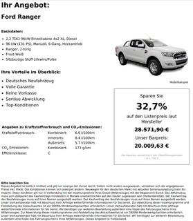 Ford Ranger 2,2 TDCi 96kW Einzelkabine 4x2 XL
