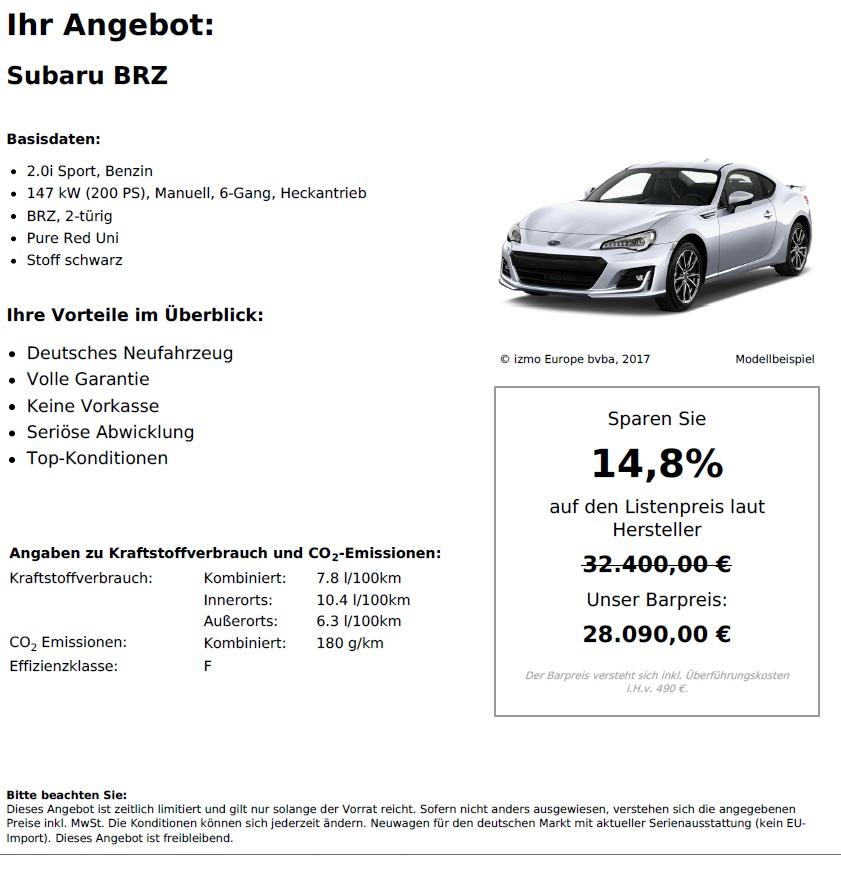 Subaru BRZ Neuwagen kaufen