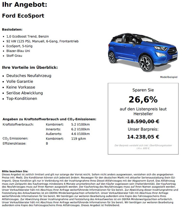 Ford EcoSport 1,0 EcoBoost Trend