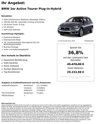 BMW 2er Active Tourer Plug-in-Hybrid 225xe Performance Steptronic Advantage, Elektro