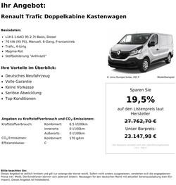 Renault Trafic Kastenwagen L1H1 Neu