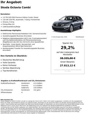 Skoda Octavia 2.0 TDI SCR DSG Premium Edition Combi, Diesel