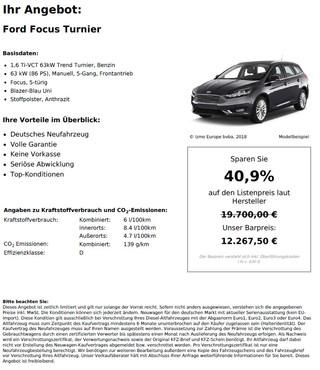 Ford Focus Turnier 1,6 Ti-VCT 63kW Trend Turnier