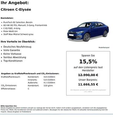Citroen C-Elysee PureTech 82 Selection, Benzin