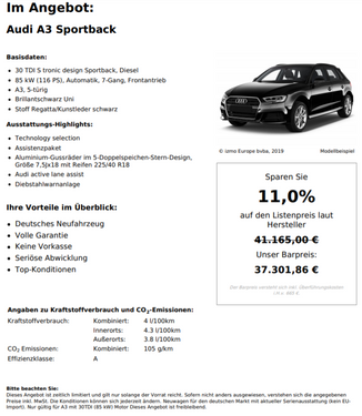 Audi A3 30 TDI S tronic Sportback