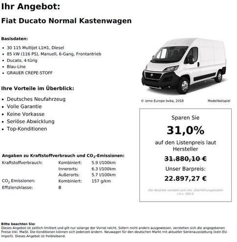 Fiat Ducato Normal Kastenwagen 30 115 Multijet L1H1