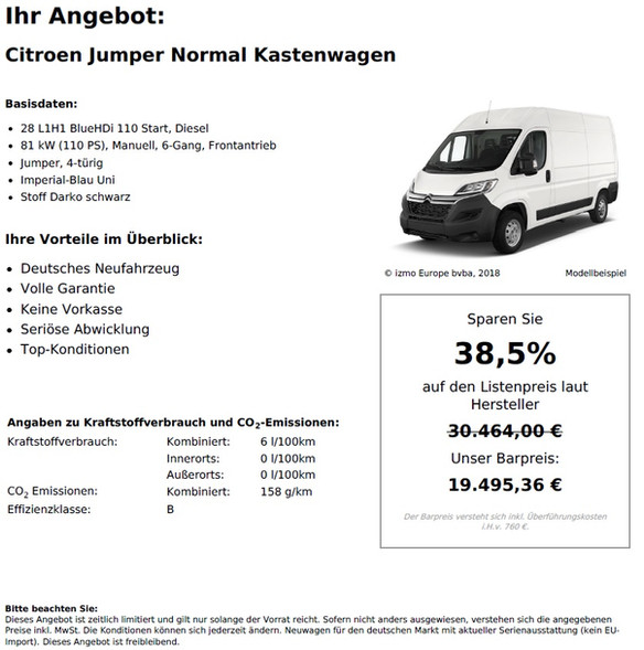 Citroen Jumper Normal Kastenwagen 28 L1H1 BlueHDi 110 Start