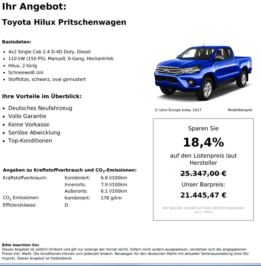 Toyota Hilux 4x2 Single Cab Neuwagen