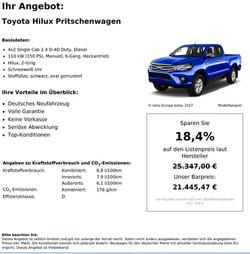Toyota Hilux 4x2 Single Cab Neuwagen