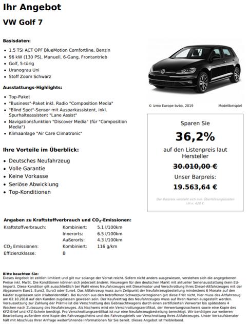 VW Golf 7 1.5TSI ACT OPF BlueMotion