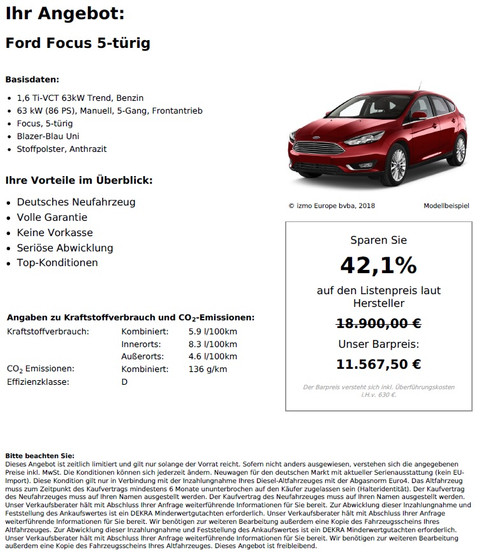 Ford Focus 5-türig 1,6 Ti-VCT 63kW Trend