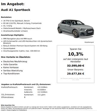 Audi A1 Sportsback 30 TFSI S line Benzin