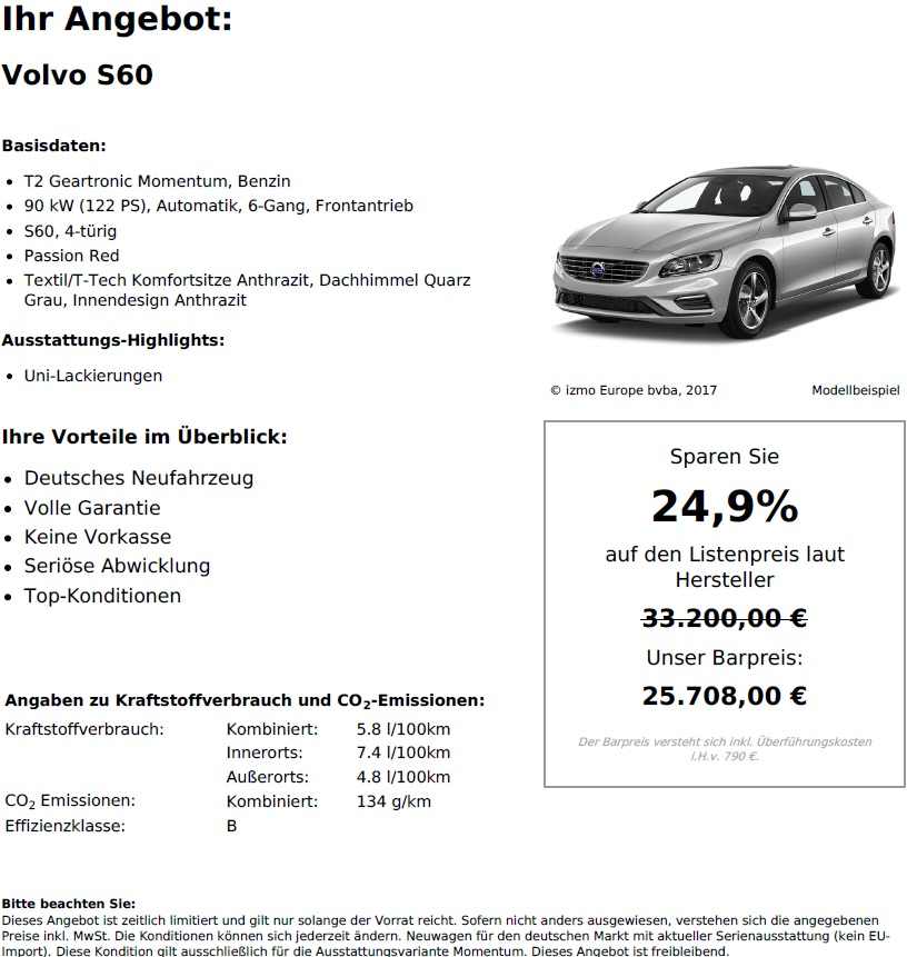 Volvo S60 T2 Geartronic Momentum