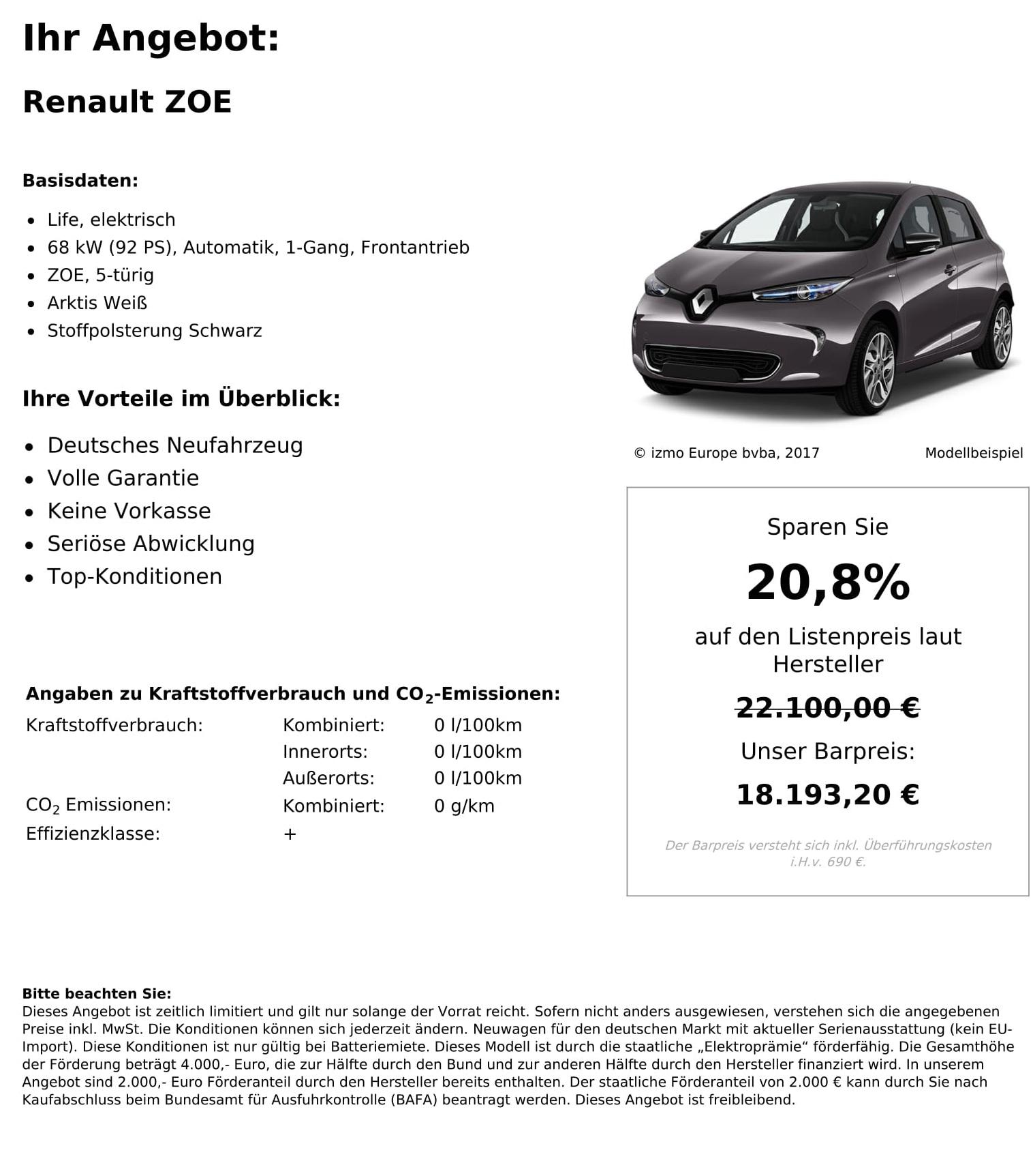 Renault Zoe Neuwagen