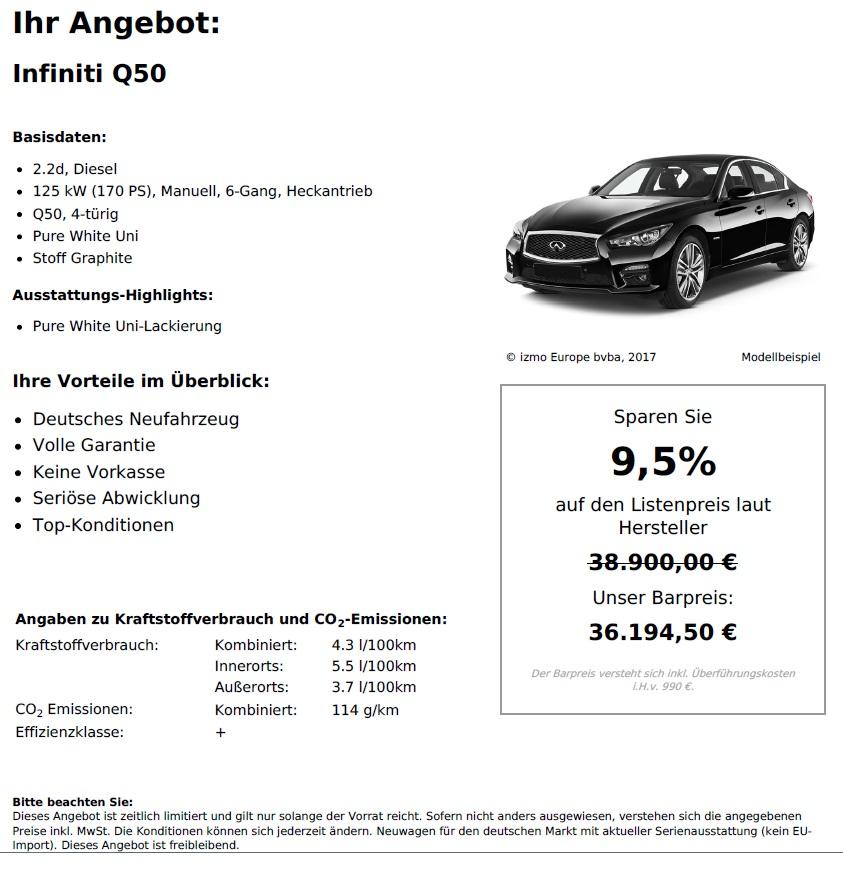 Infiniti Q50 Neuwagen online kaufen