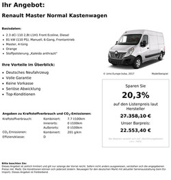 Renault Master Kastenwagen Neu