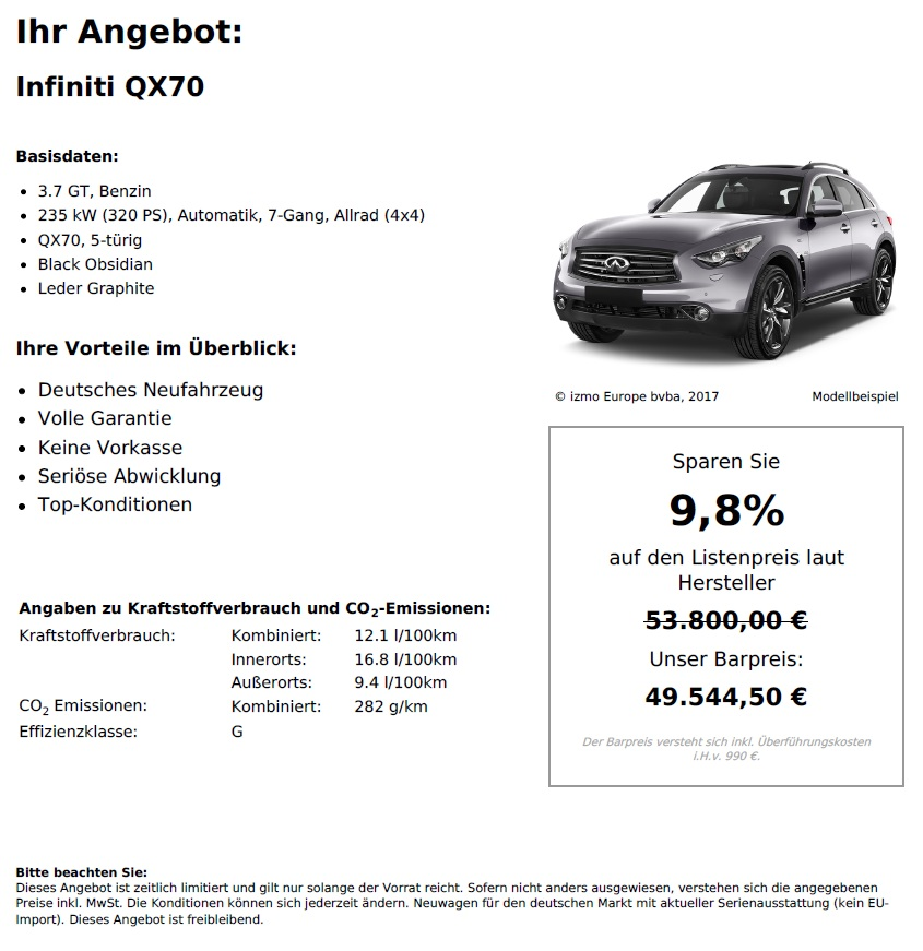 Infiniti QX70 Neuwagen kaufen