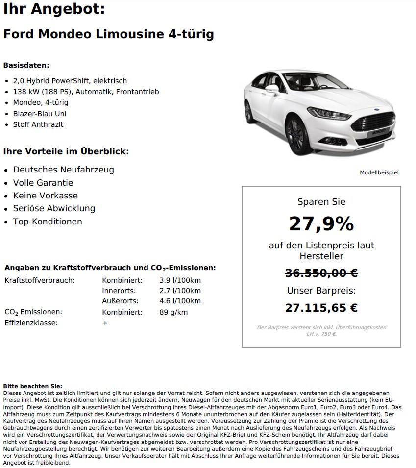 Ford Mondeo Limousine 2,0 Hybrid PowerShift