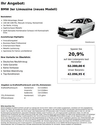 BMW 3er Limousine (neues Modell) 320d Advantage