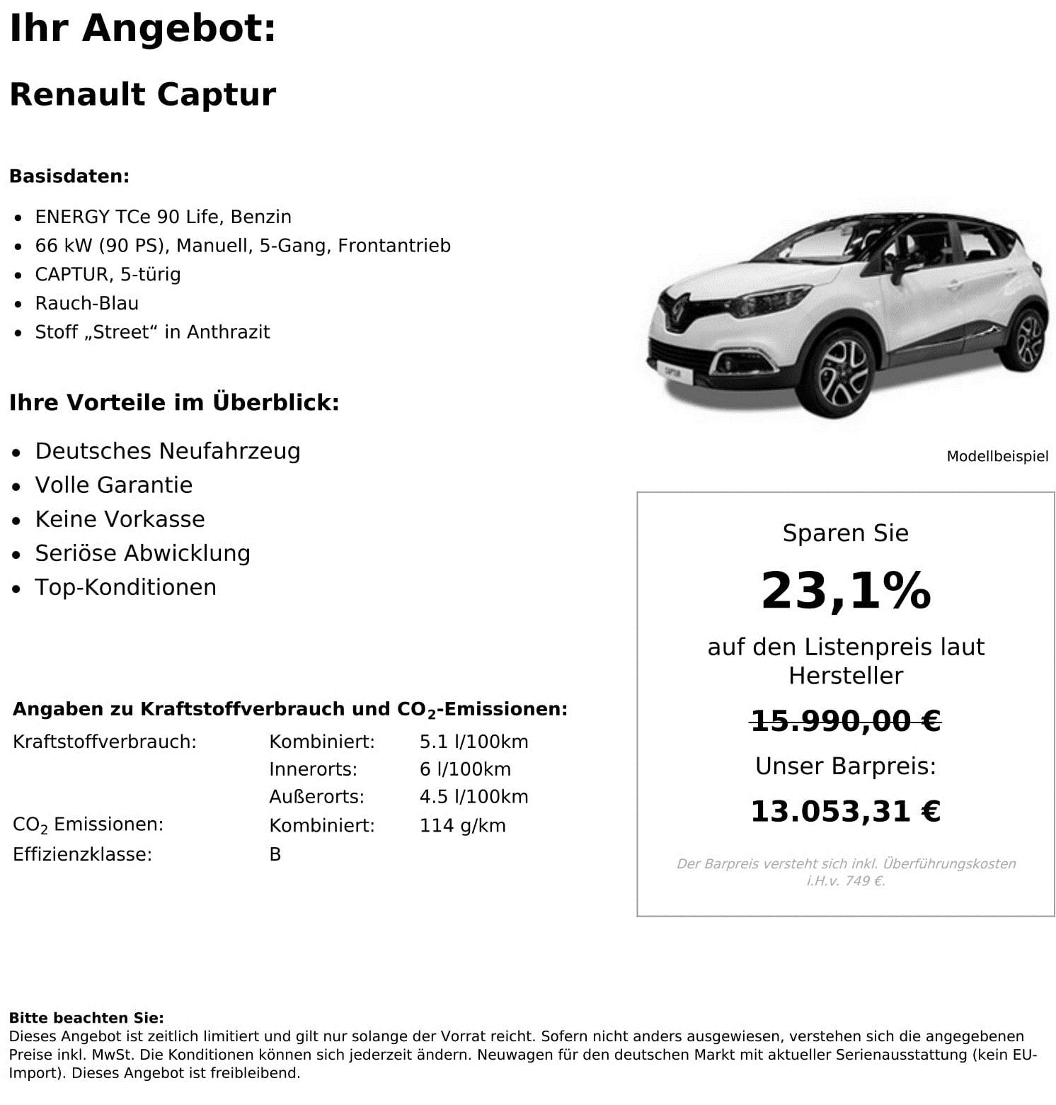 Renault Captur Neuwagen kaufen