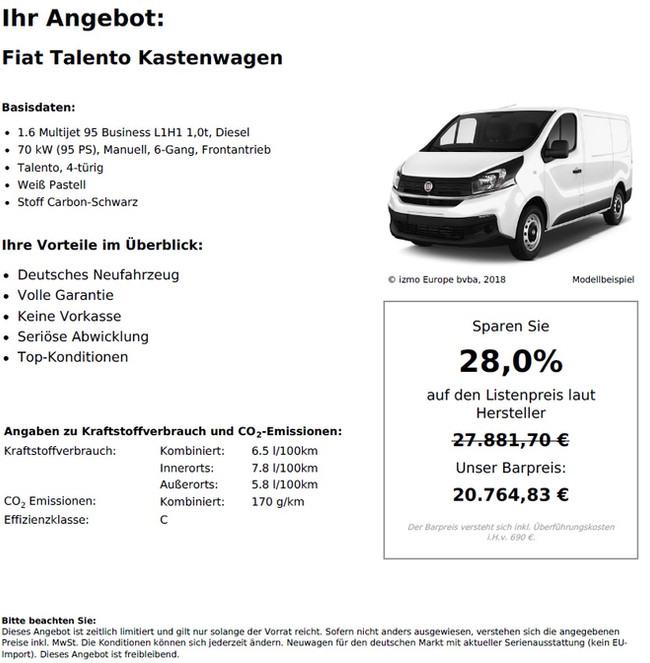 Fiat Talento Kastenwagen 1.6 Multijet 95 Business L1H1 1,0t