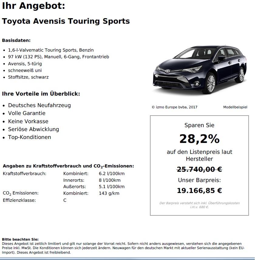 Toyota Avensis Touring  Neuwagen