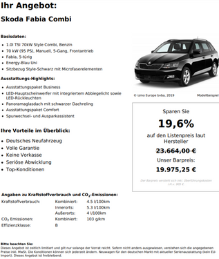 Skoda Fabia Combi 1.2 TSI 70kW Style Combi Benzin 19.6% Rabatt