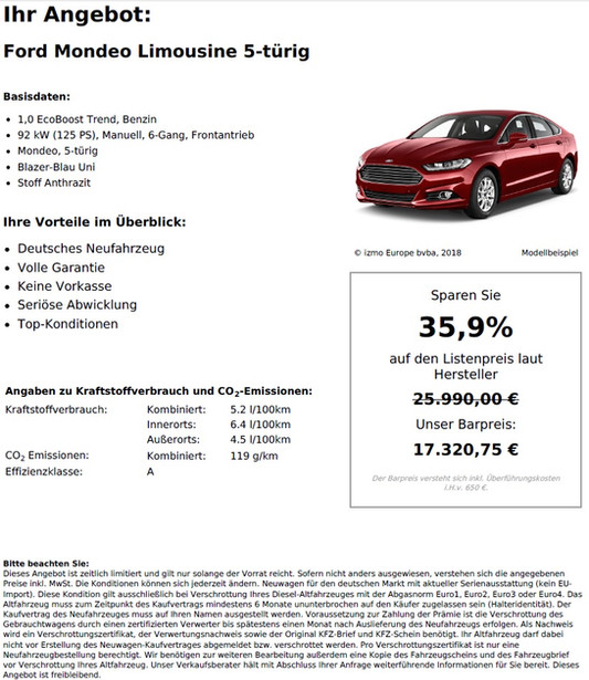 Ford Mondeo Limousine 5-türig 1,0 EcoBoost Trend