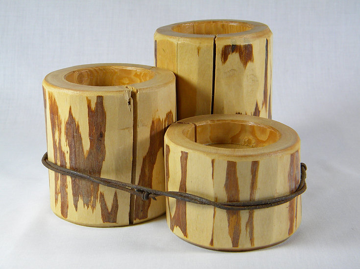 Rustic Log Candle Holder Set