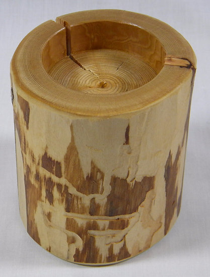 Rustic Log Candle Holder