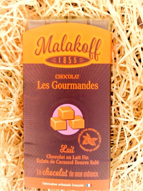 Tablette Chocolat au Lait fin Eclats de Caramel Beurre Salé Malakoff