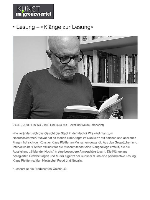 • Lesung – »Klänge zur Lesung« – Kunst