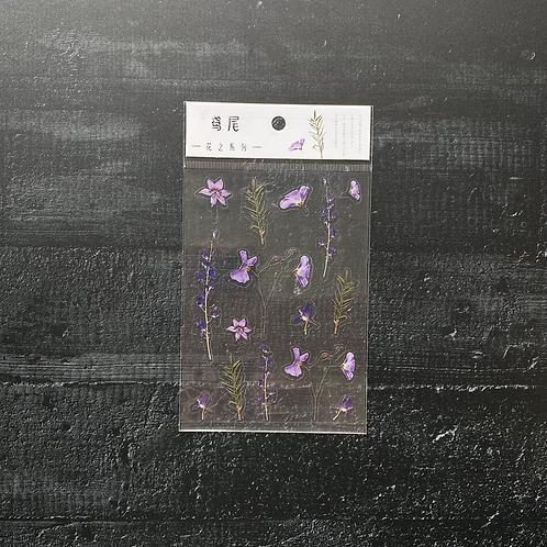 Fremdgebibert   Stickersheet lila Blumen   1 Sheet