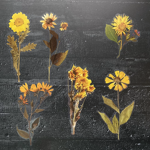 Fremdgebibert | große Aufkleber | gelbe Blumen | 6 Stück