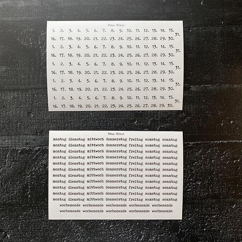 Stickerset | Typo | Wochentage & Daten |