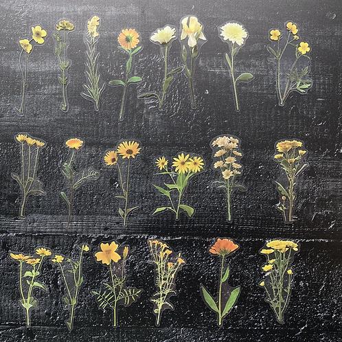 Fremdgebibert   kleine Aufkleber   gelbe Blumen   40 Stück