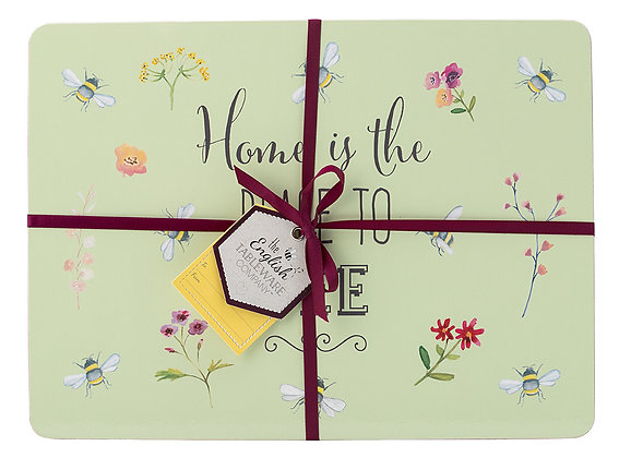 Bee Happy 4 pk Placemats - Cork backed
