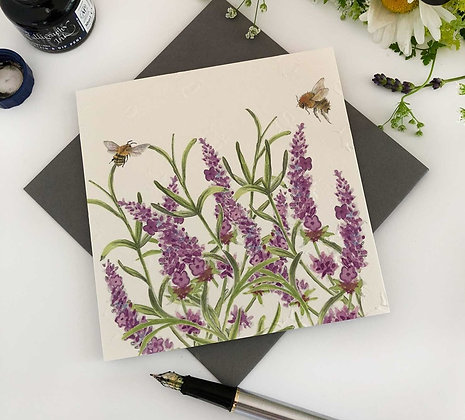 Lavender - Bee-tannicals Greeting Card by Sarah Boddy