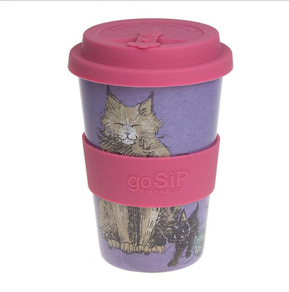 Rice husk cup 14oz, Meow Cat Design