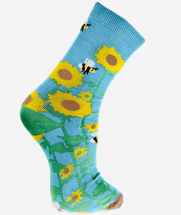 "Medium Bamboo socks, ""sunflowers & Bees"", shoe size 3-7"