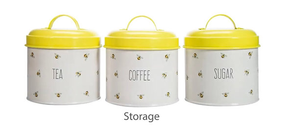 Busy Bees Happy Set of 3 Storage Tins - Painted Steel